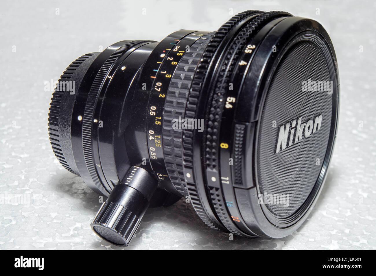Vintage PC Nikon shift lens, india, asia - Stock Image
