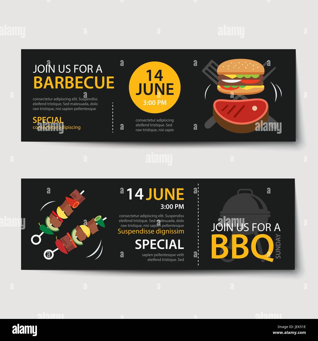 barbecue invitation party template flat design set stock vector art