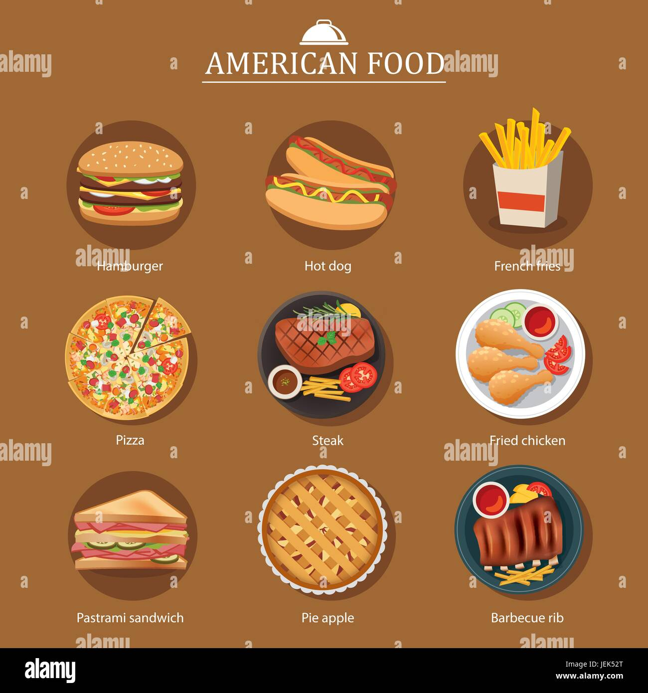 set of american food - Stock Vector