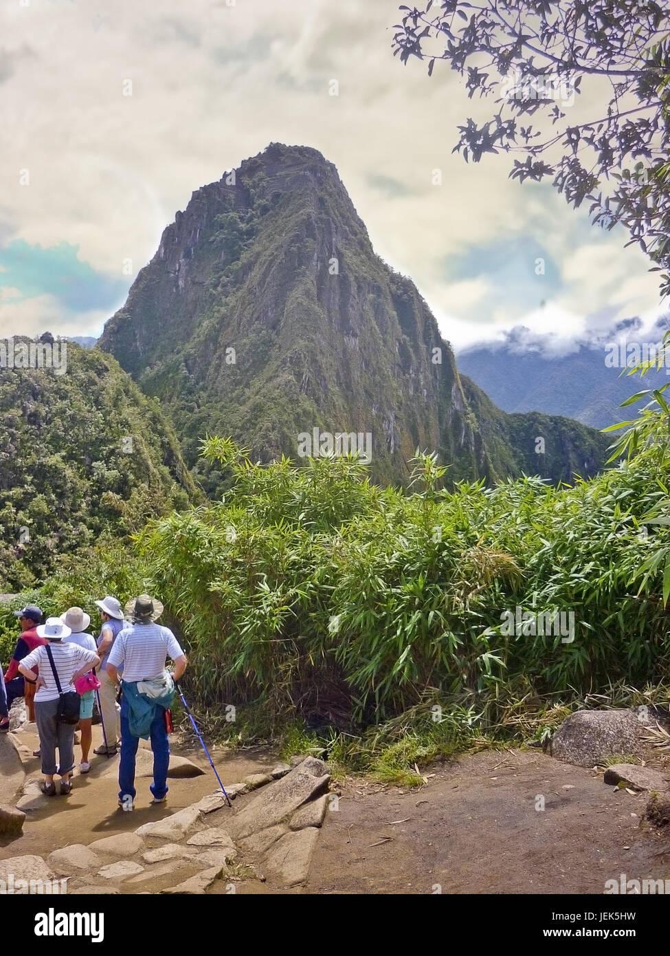 Huayna Picchu View from Machu Pichu Mountain - Stock Image