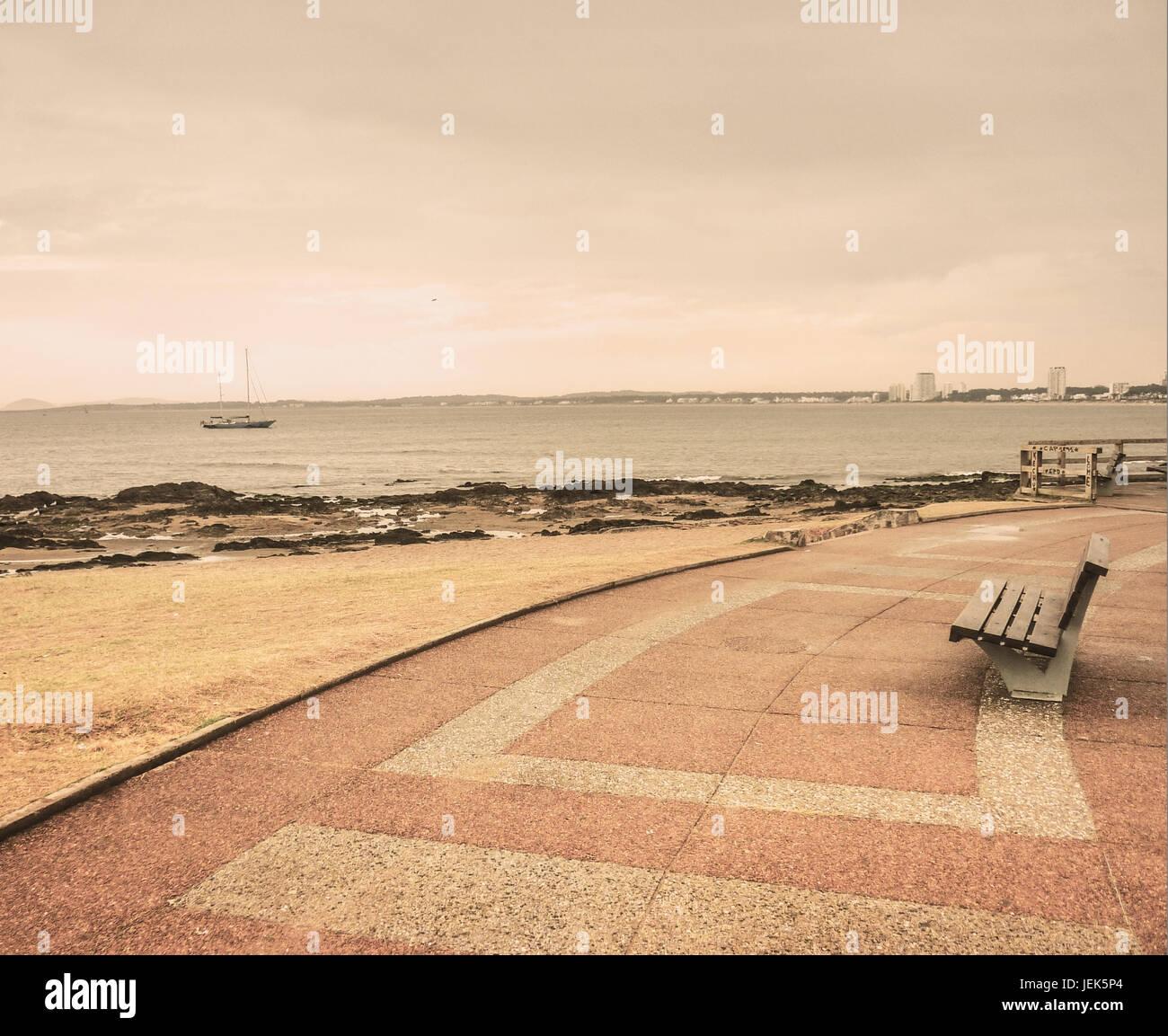 Lonely Boardwalk in Punta del Este Stock Photo
