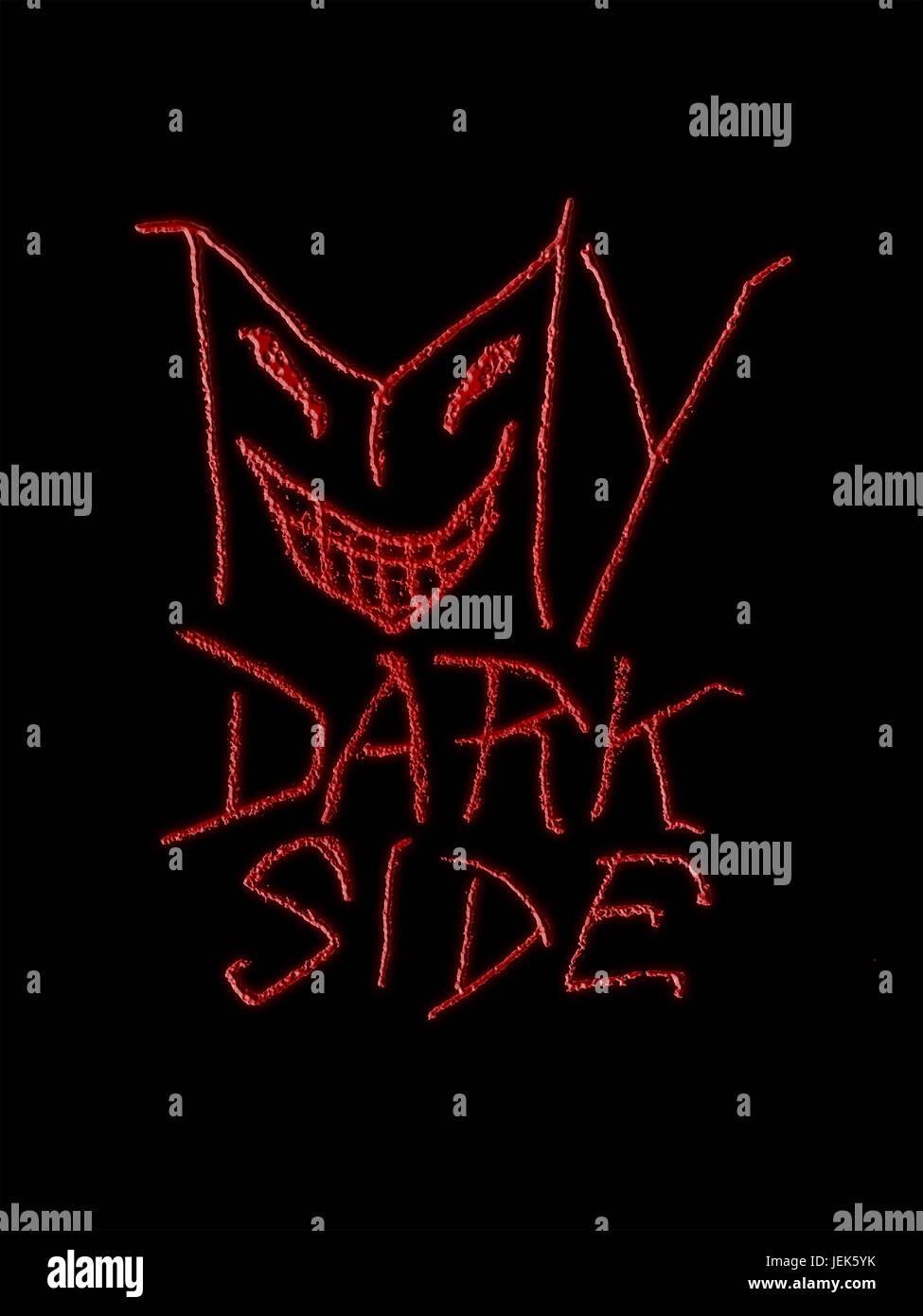 My Dark Side Typographic Design - Stock Image
