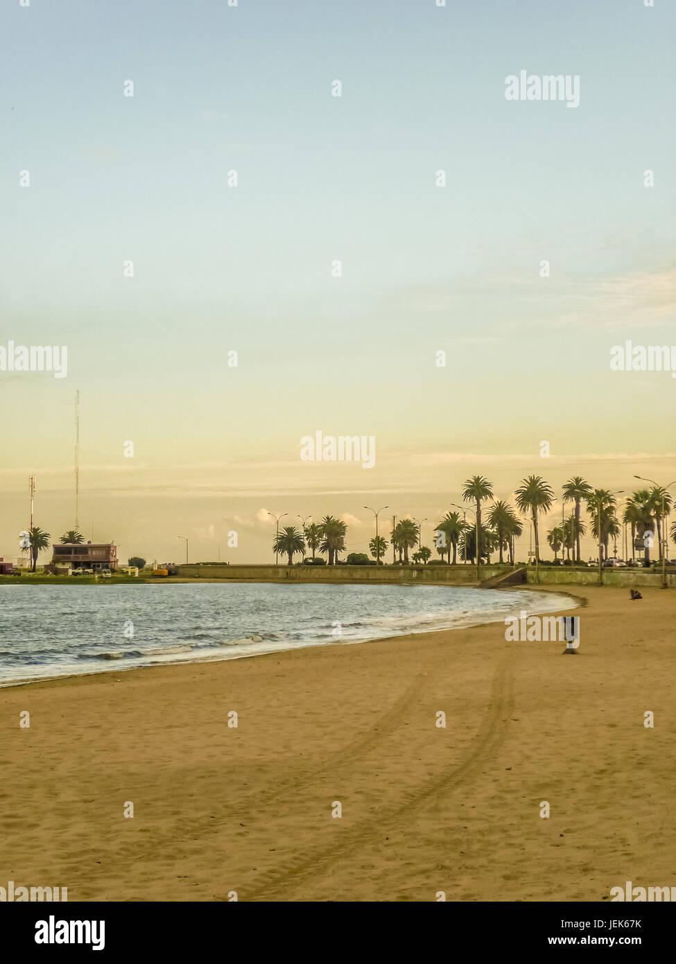 Empty Beach of Montevideo in Uruguay - Stock Image