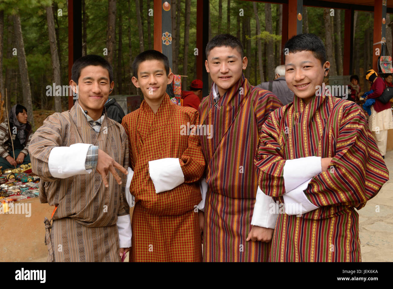 People at monastery, Thimphu, Bhutan, asia - Stock Image