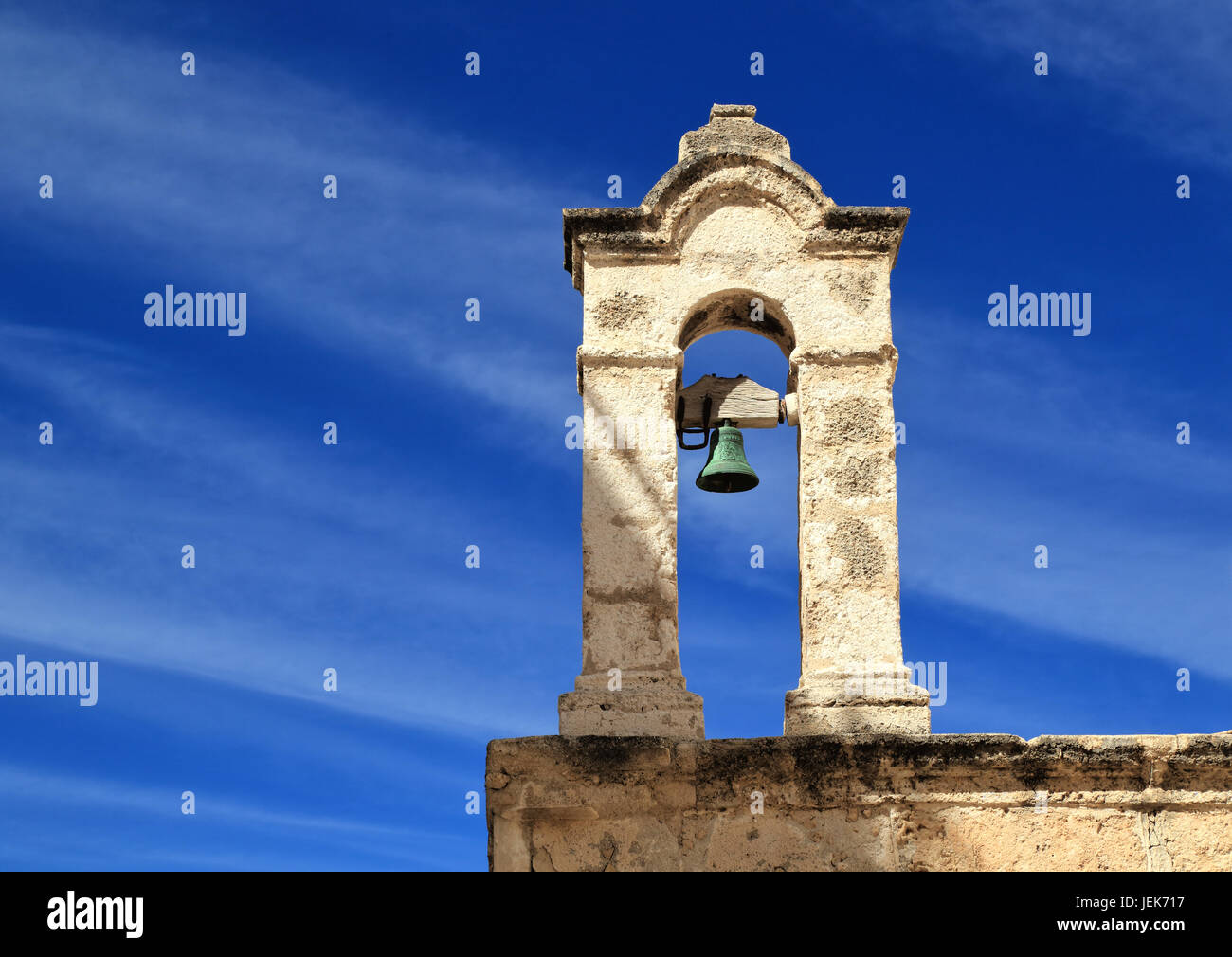 Church bell tower, Polignano a Mare, Italy - Stock Image