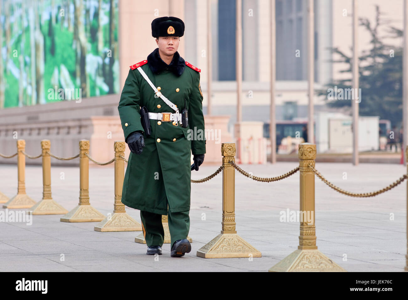 BEIJING – DEC. 26, 2011. Honor guard at Tiananmen on Dec. 26, 2011. Honor guards are provided by the People's Liberation Stock Photo