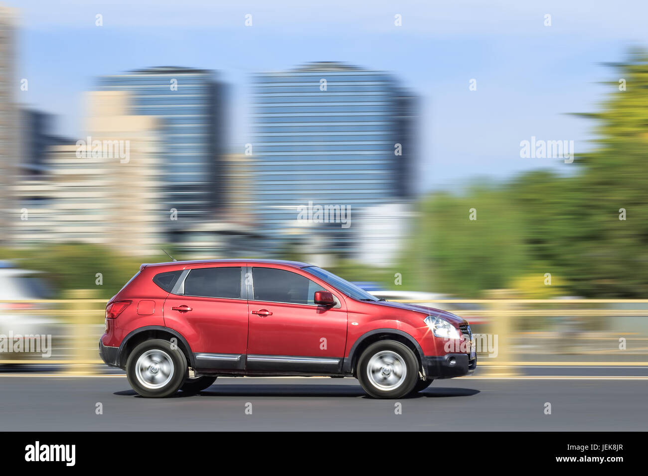 BEIJING-OCT. 28, 2016. Nissan Qashqai downtown. Nissan reported strongest monthly sales growth for China in September, - Stock Image