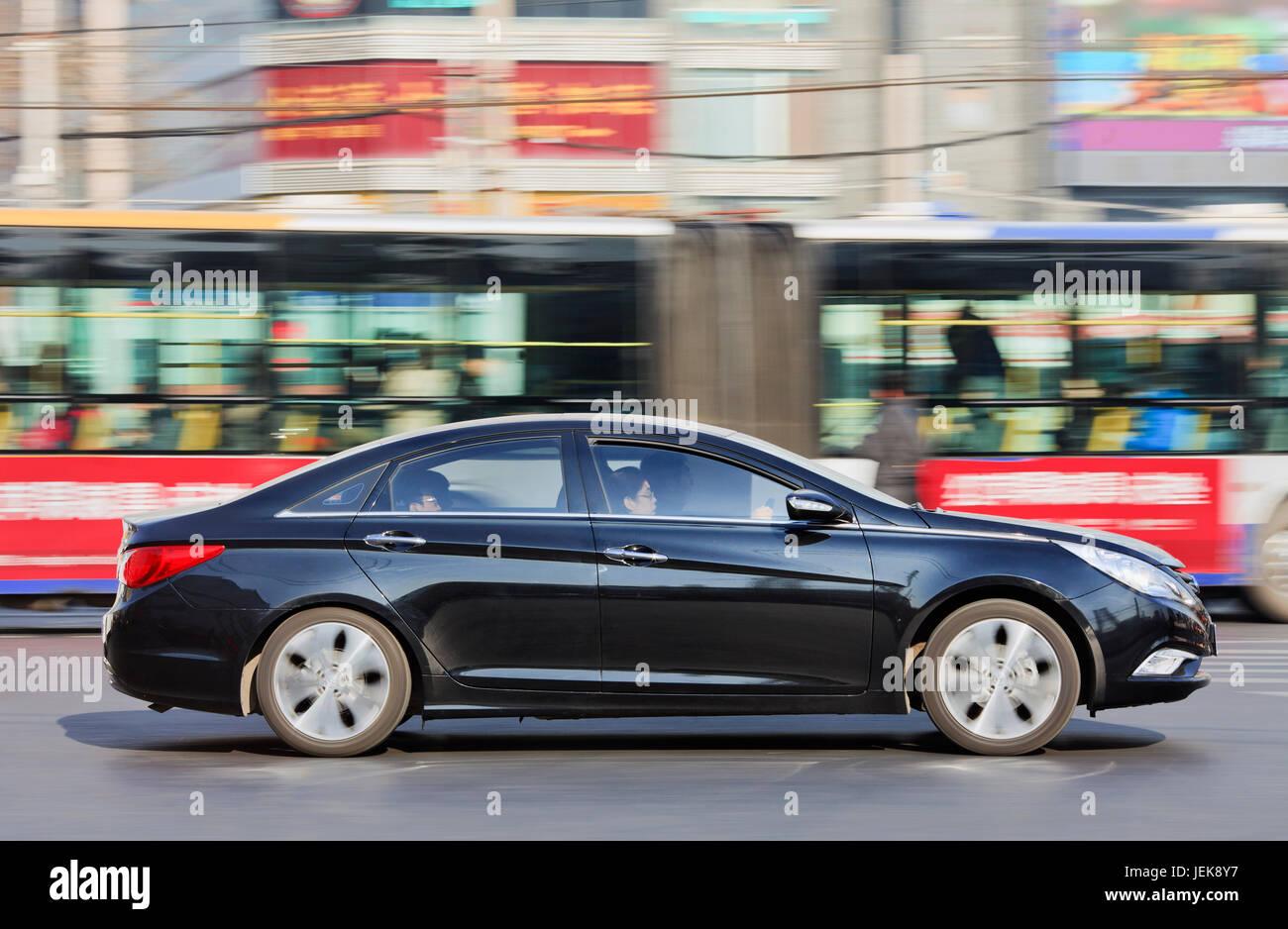 BEIJING-DEC. 12. Hyundai Santa Fe. Hyundai considers fourth plant in China to maintain its 10% market share in 2015 - Stock Image