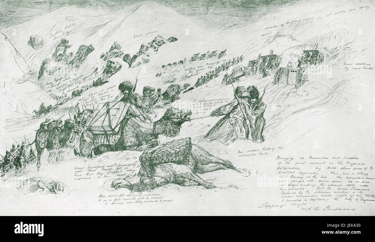 Russian Army Assault at Erzurum 1916 - Stock Image