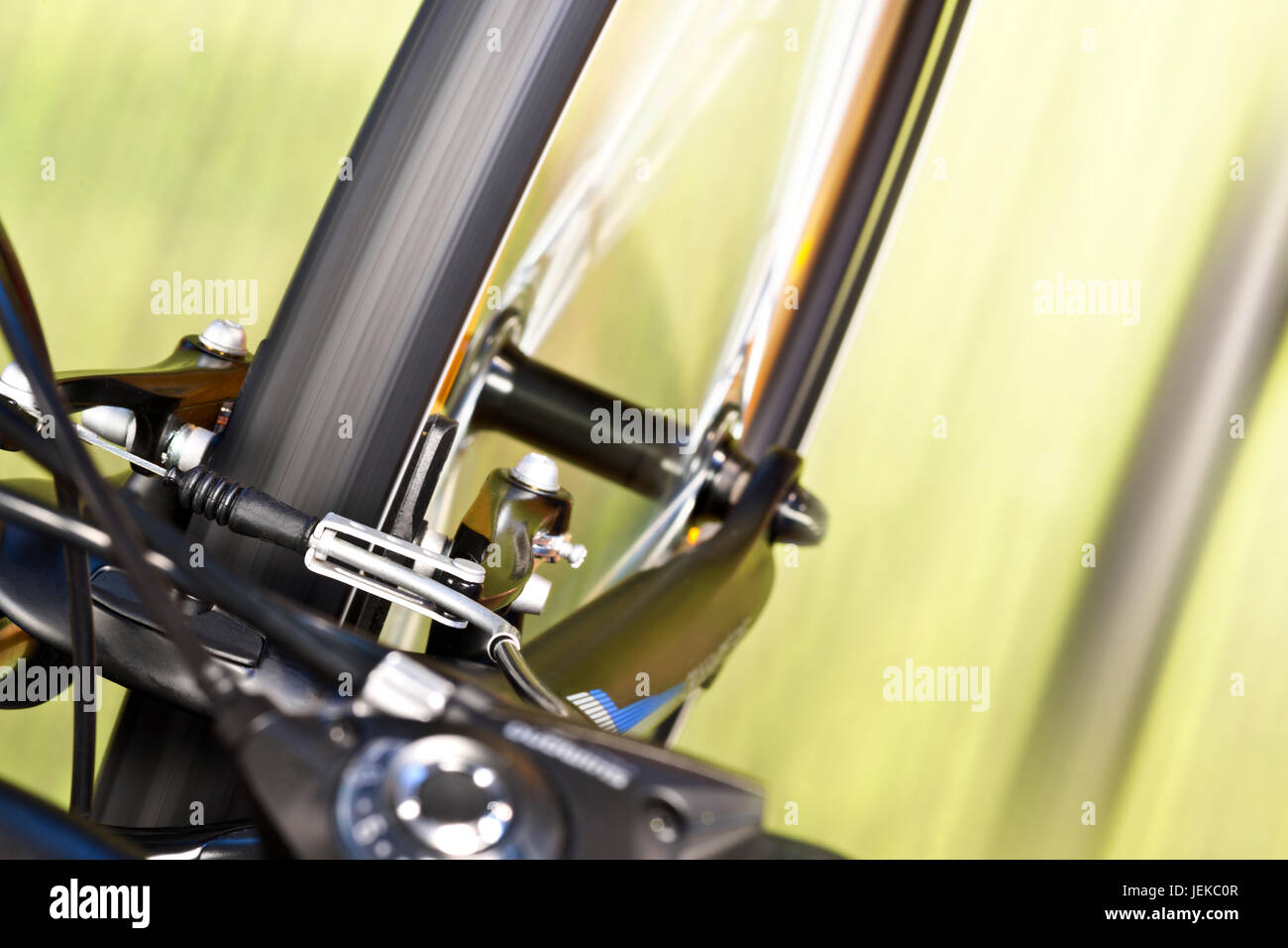 Detail Of Caliper Brakes And Suspension Fork - Stock Image