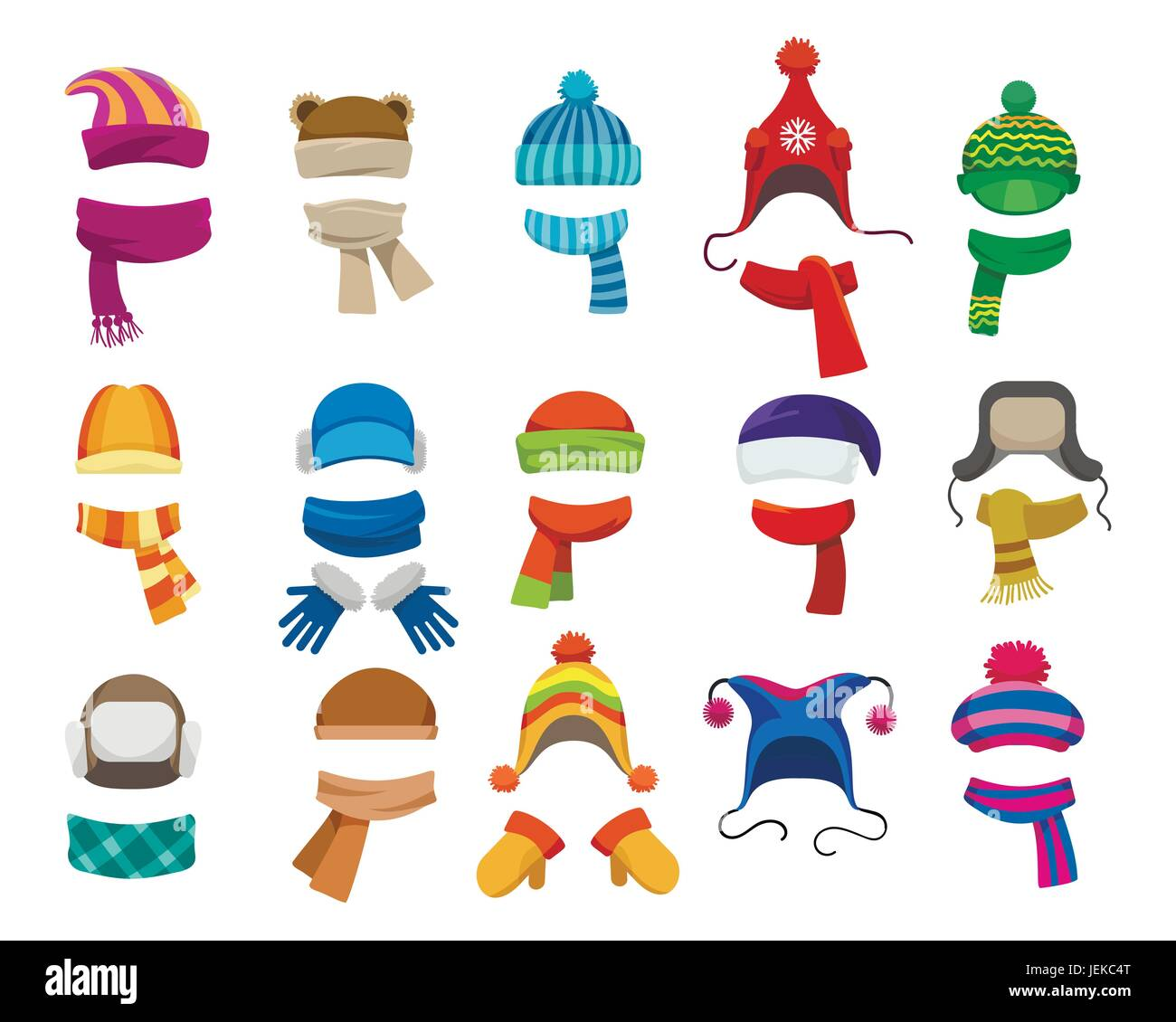 b83375453d0ce Winter or autumn headwear collection. Vector knitting hats