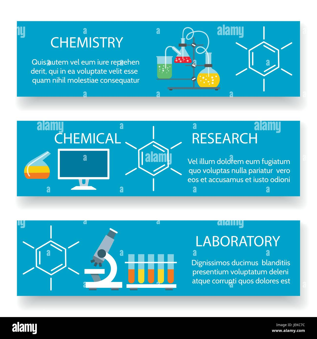 chemistry lab banners vector science experiment backgrounds with