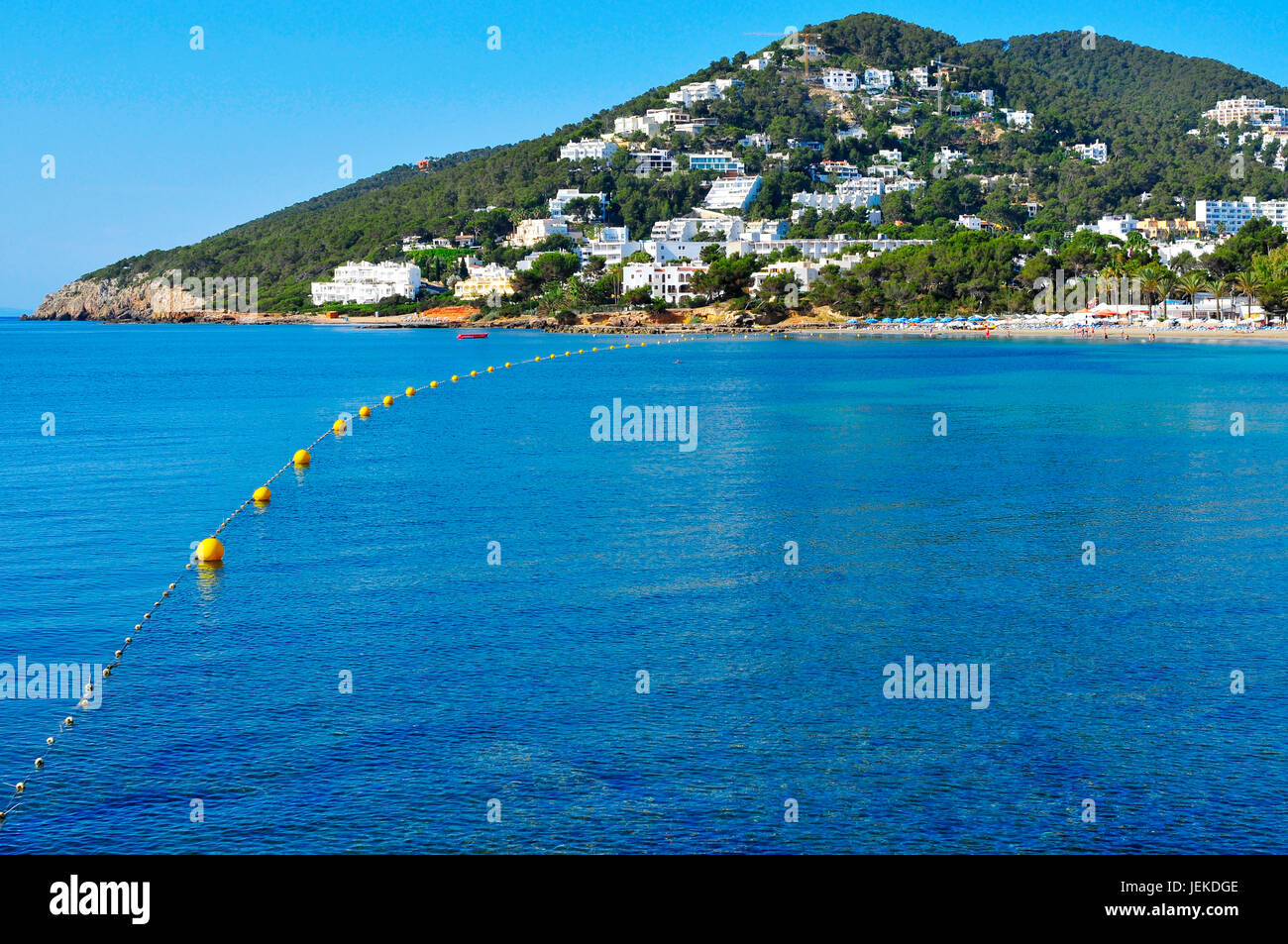 a panoramic view of the coastline and the Santa Eularia Beach in Santa Eularia des Riu, in Ibiza Island, Spain - Stock Image