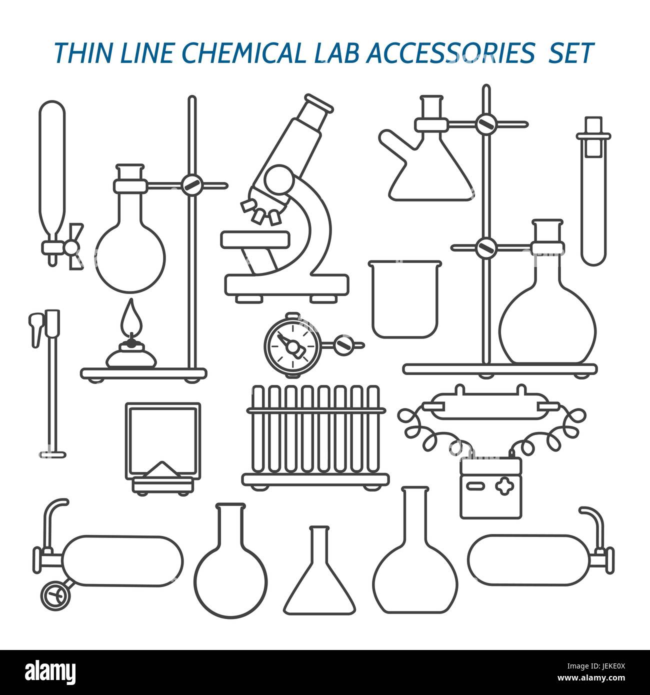 Thin line chemical lab equipment and accessories set. Biology science and medical engineering linear vector icons Stock Vector
