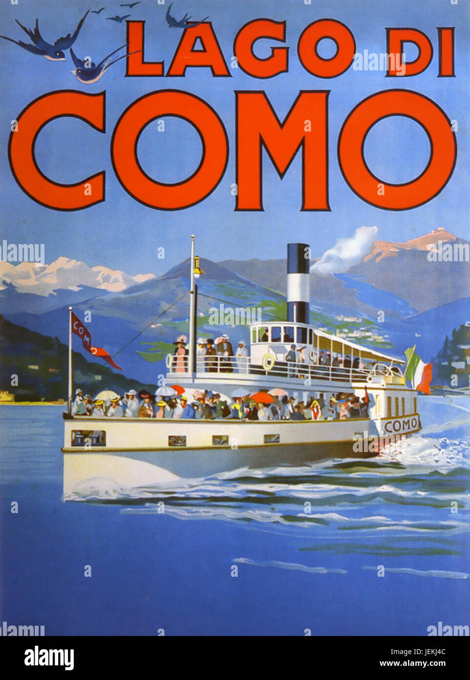LAKE COMO, Italy. Promotional poster about  1910 showing one of the then newly introduced  steam ferry boats - Stock Image