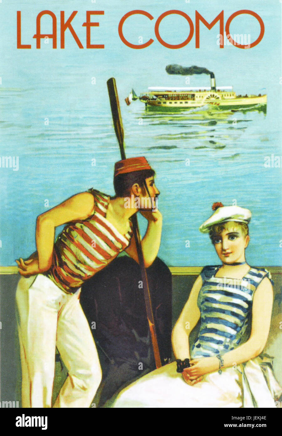 LAKE COMO, Italy. Promotional poster about  1910 with a steamboat ferry in the background and a sailor perhaps reflecting - Stock Image