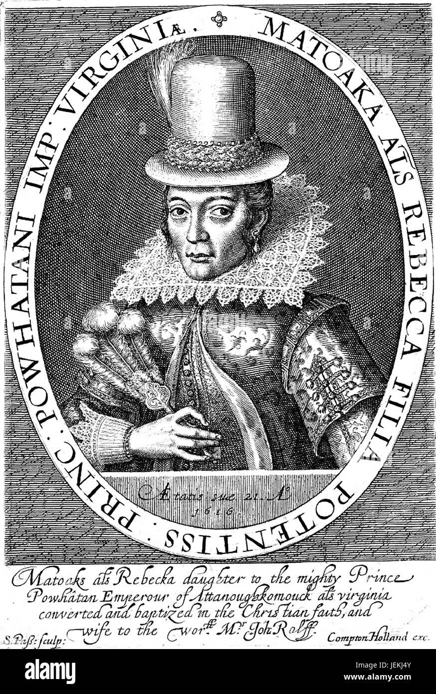 POCAHONTAS (c 1596-1617) Native American in a 1616 engraving by Simon de Passe - Stock Image
