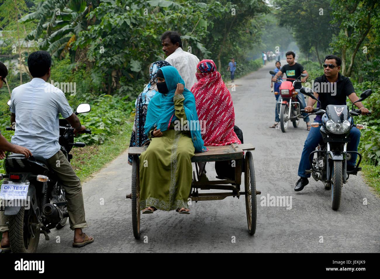 BANGLADESH, Tangail, transport by bicycle rikshaw / BANGLADESCH, Distrikt Tangail, Kalihati, Transport per Fahrradrikscha - Stock Image