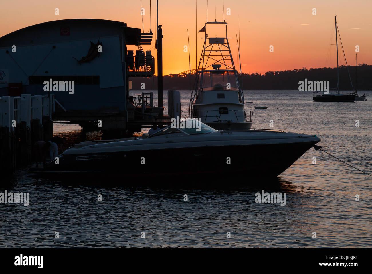 Boats moored at Watsons Bay Ferry Wharf, Sydney, Australia. - Stock Image