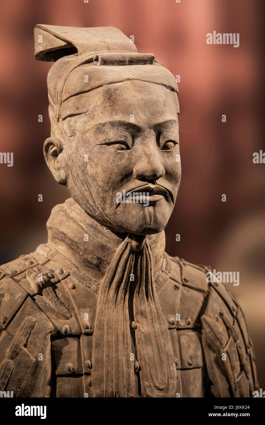 The Terracotta Army exhibit on display at the Shaanxi History Museum. Xian. China - Stock Image