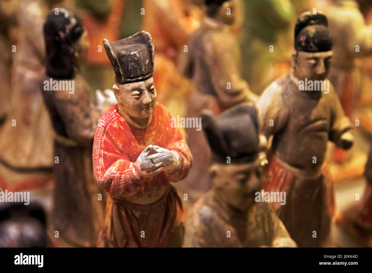 Painted Honor Guard are the funerary guards of Prince Qinjian of the Ming Dynasty. Located in the Shaanxi History - Stock Image