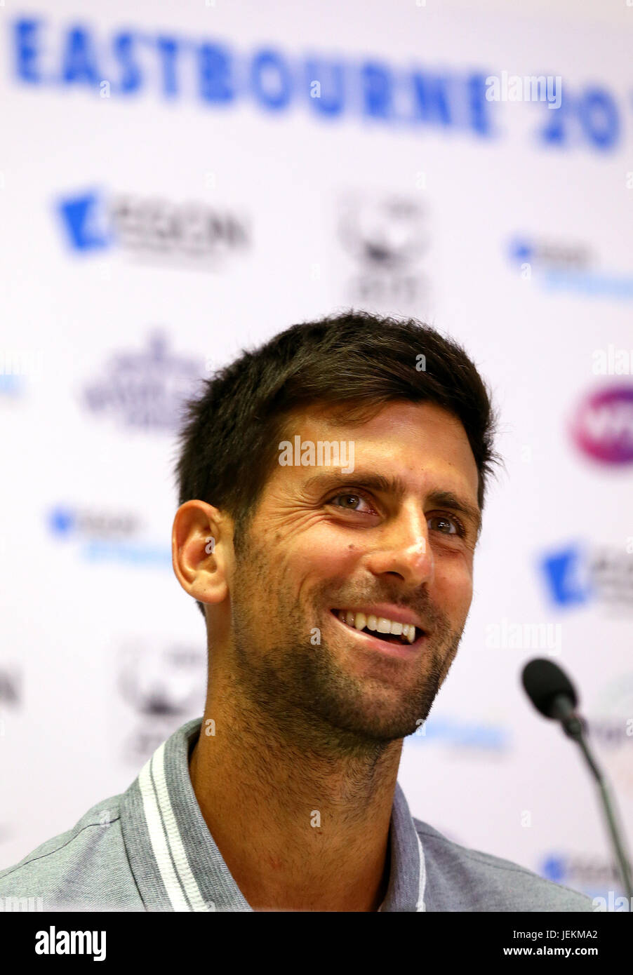 Serbia's Novak Djokovic during a press conference during day four of the AEGON International at Devonshire Park, - Stock Image