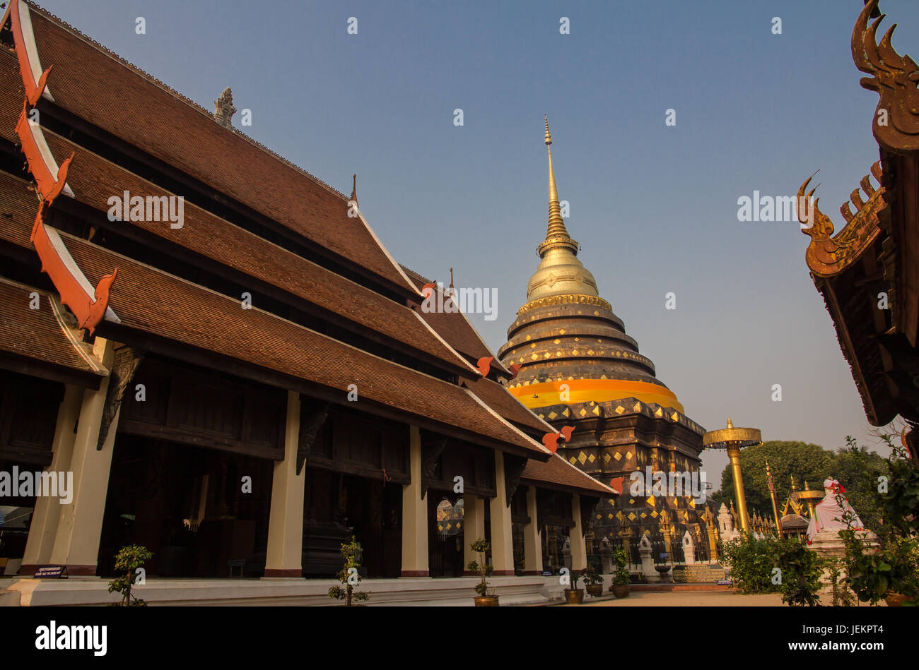 Wat Phra That Lampang Luang. Lanna architecture style temple - Stock Image