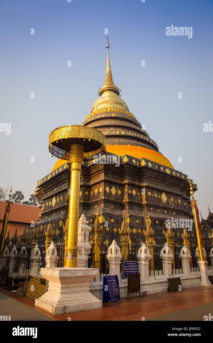 Pagoda at Wat Phra That Lampang Luang. Lanna style temple - Stock Image