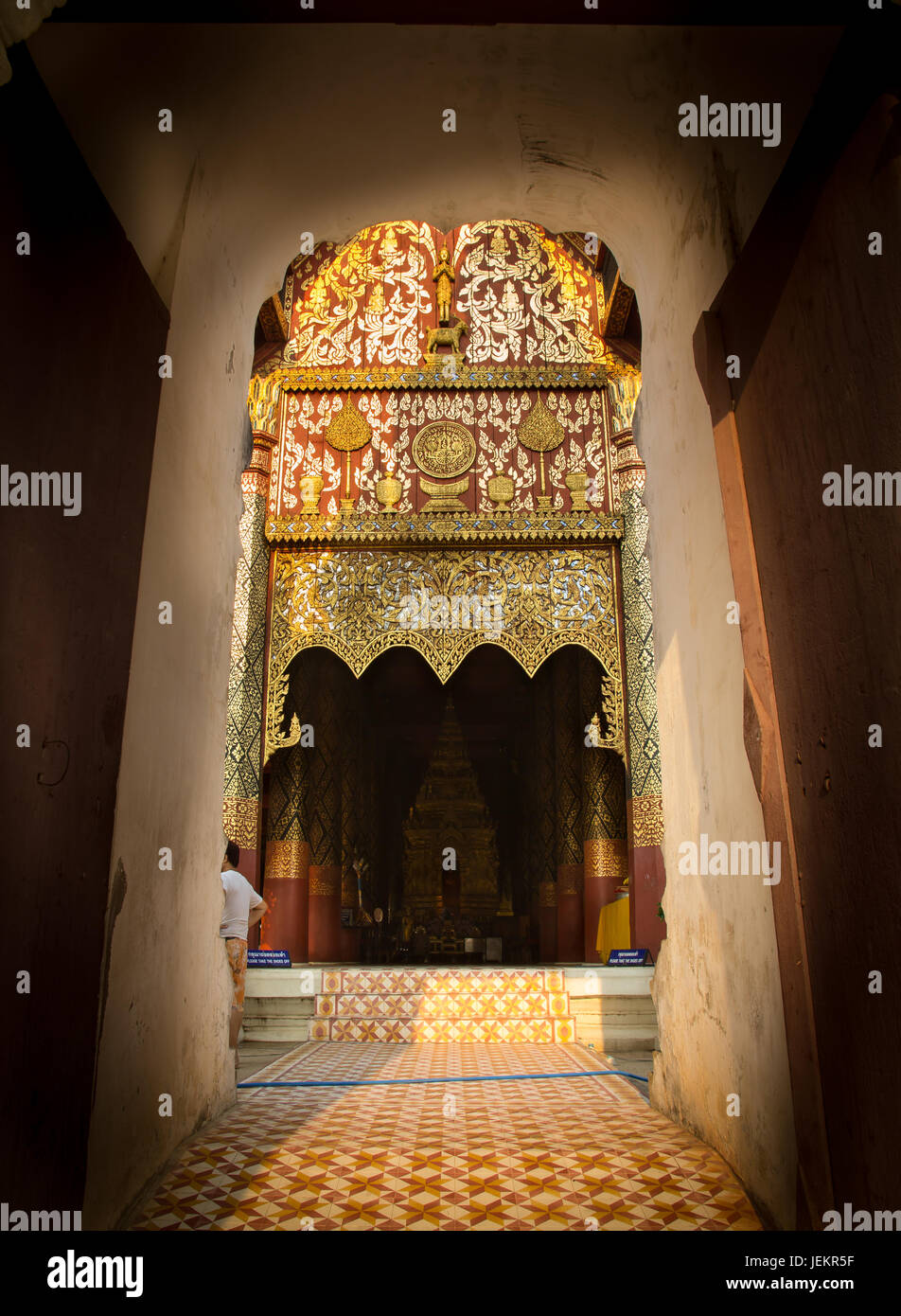 Entrance of Wat Phra That Lampang Luang. Lanna style temple - Stock Image