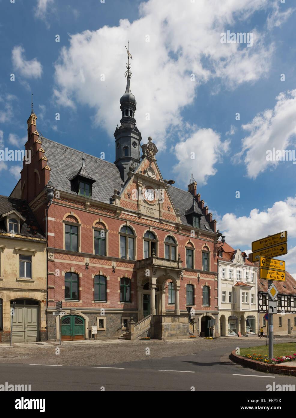 Dahlen, Saxony, June 8th: Rathaus (German for Town Haus) of Dahlen (built on 1888) in Saxony on June 8th, 2017. Stock Photo