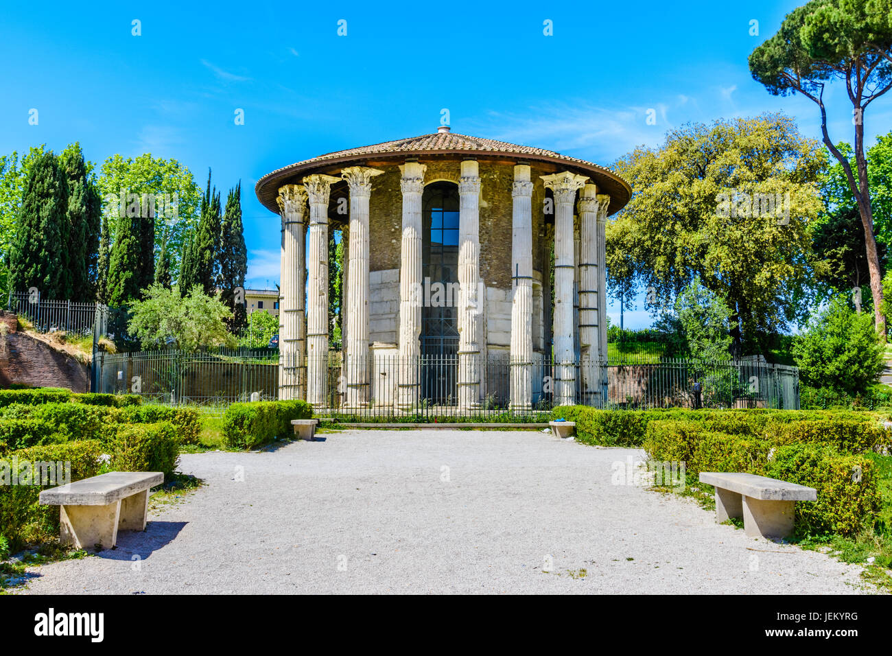 The Temple of Hercules Victor or Hercules Olivarius is an ancient edifice located in the Forum Boarium in Rome. - Stock Image