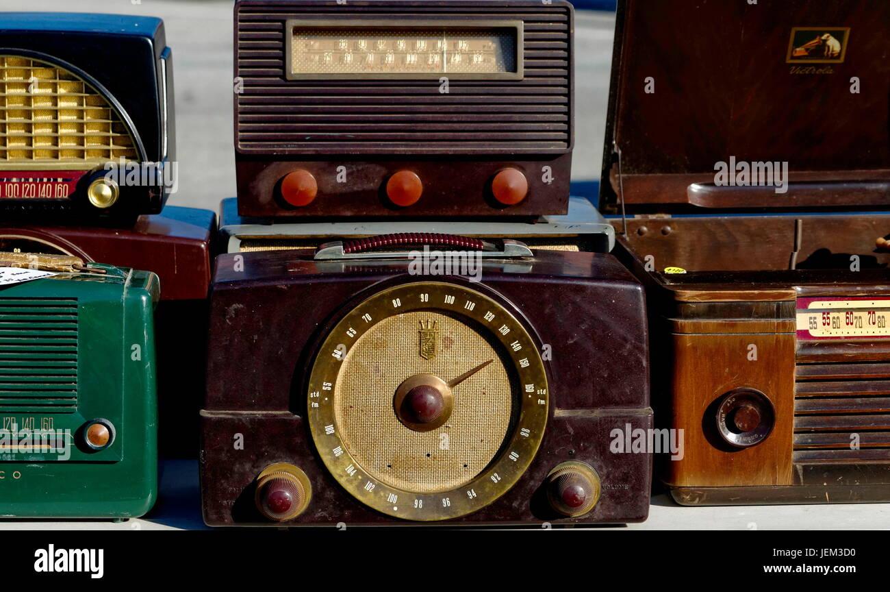 Vintage broadcast radio receivers Stock Photo