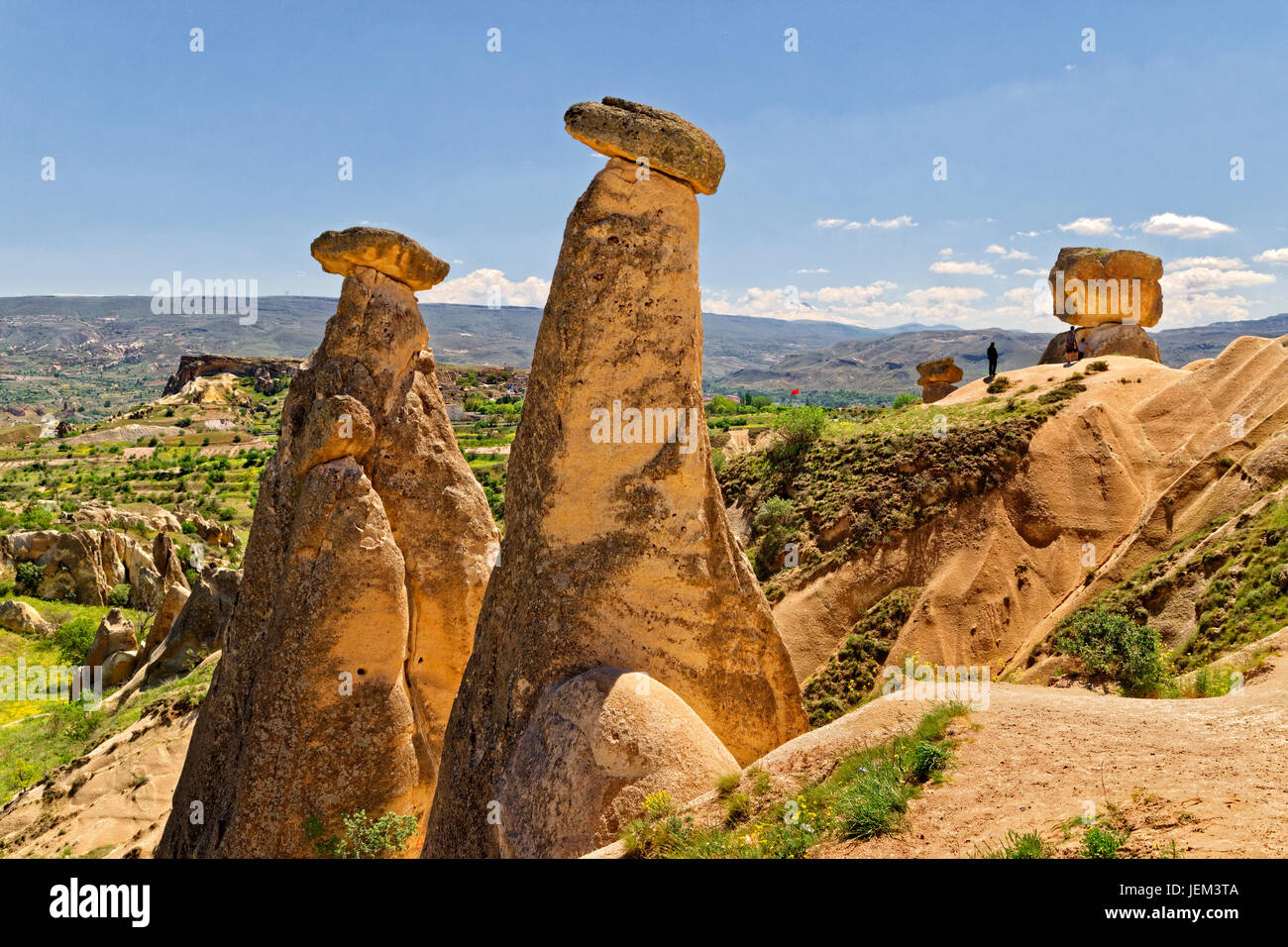 Fairy Chimneys between Urgup and Goreme, Cappadocia, Turkey. - Stock Image