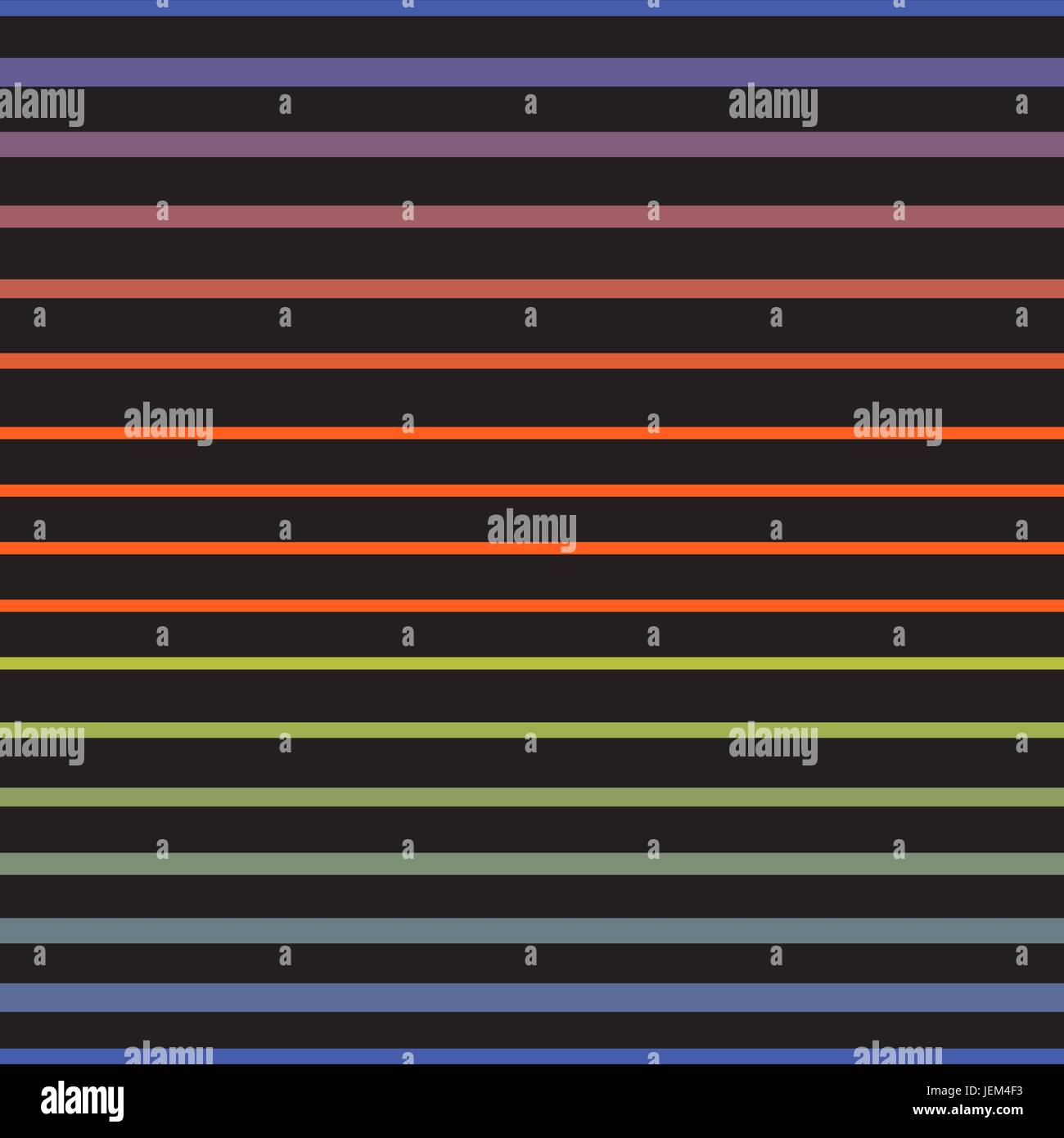 Rainbow line horizontal seamless vector pattern. Striped blended dark colored background for wrap paper, textile Stock Vector