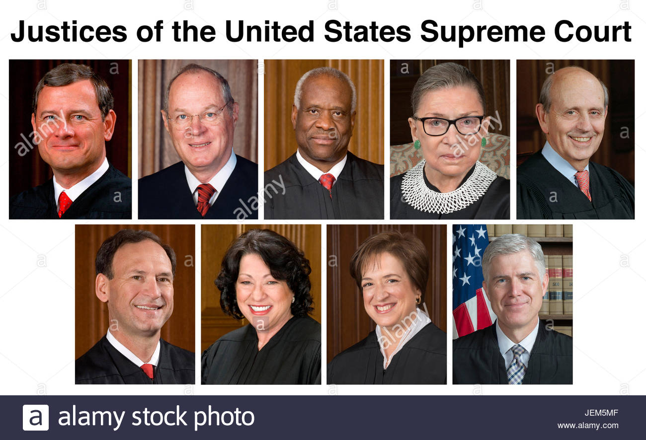 Justices of the United States Supreme Court.  Top row (left to right): John G. Roberts, Jr., Chief Justice; Anthony - Stock Image