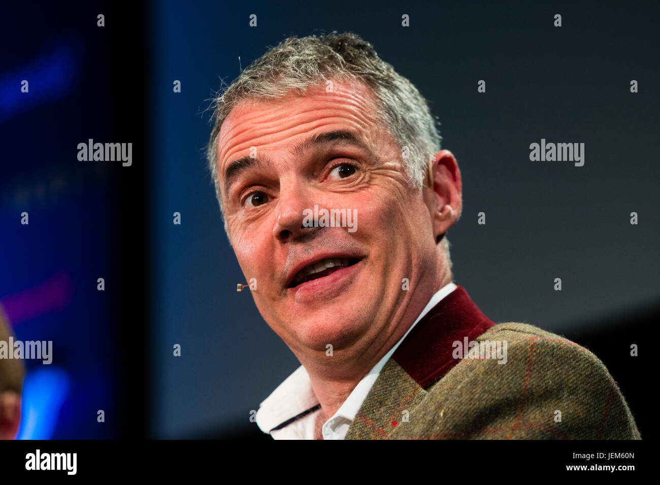 Peter Jukes, English author, screenwriter, playwright, literary critic and blogger.,   at the 2017 Hay Festival - Stock Image