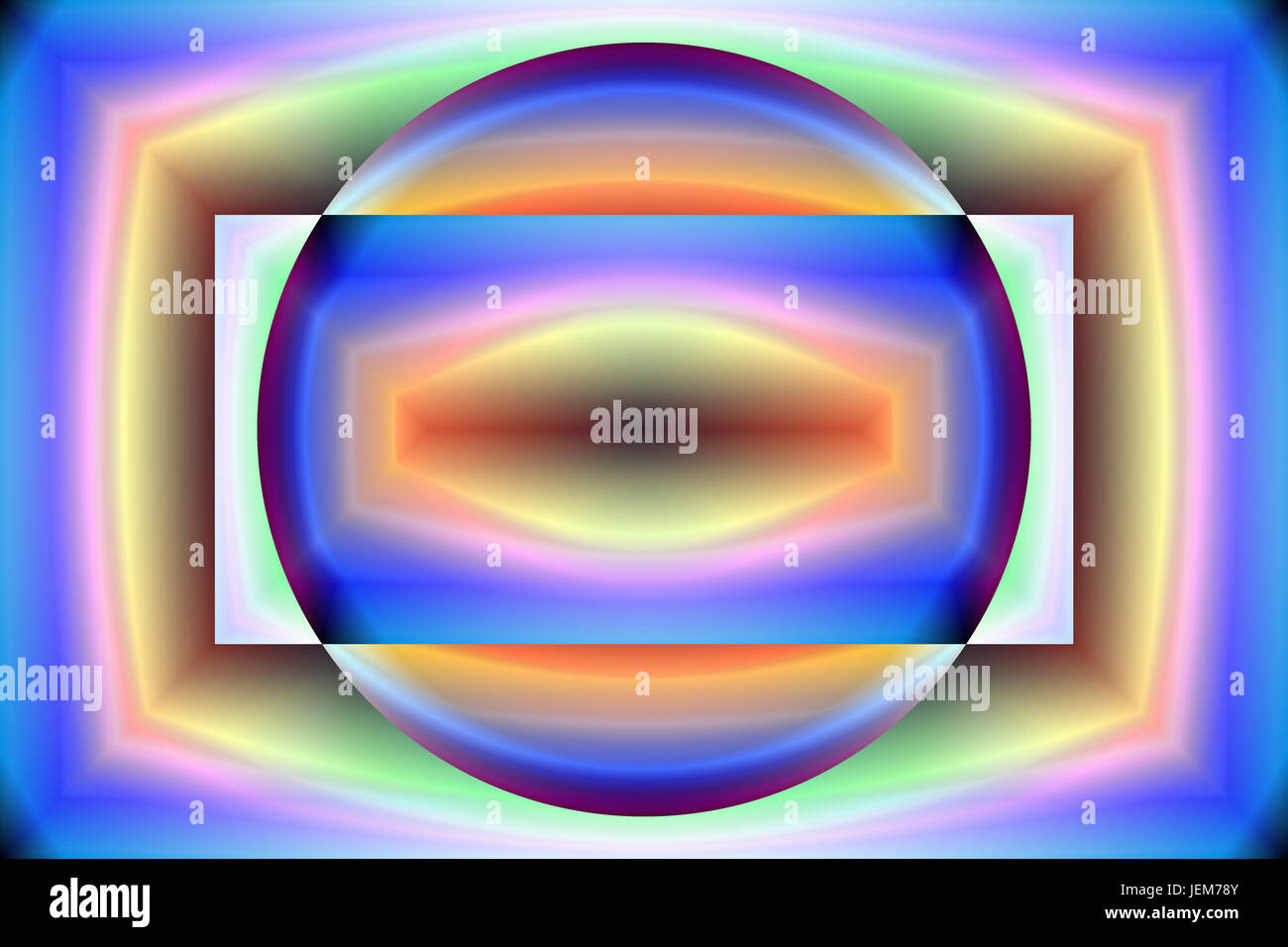 Digital art, abstract three-dimensional objects with soft lighting - Stock Image