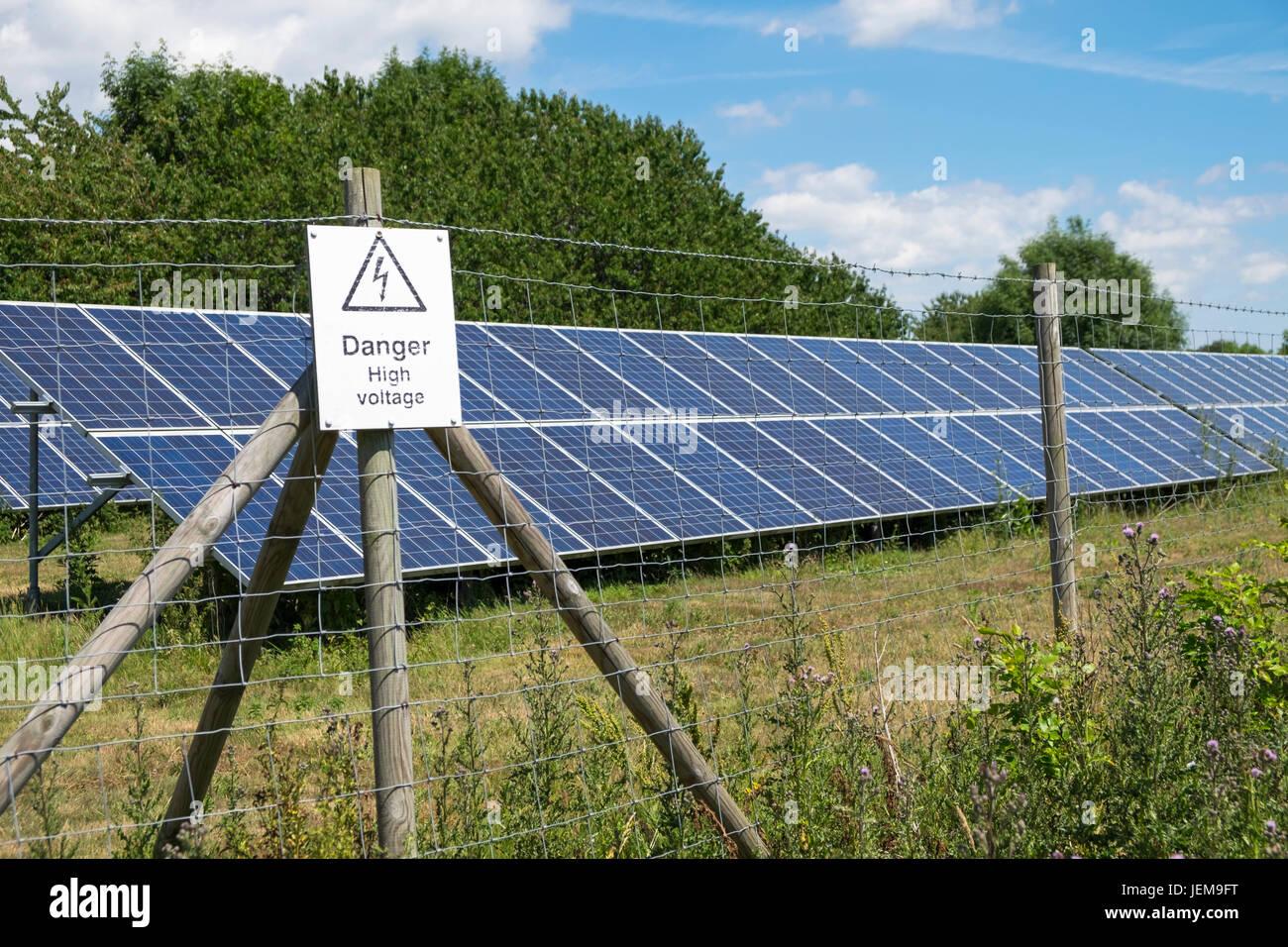 Solar farm in field, kent, uk - Stock Image