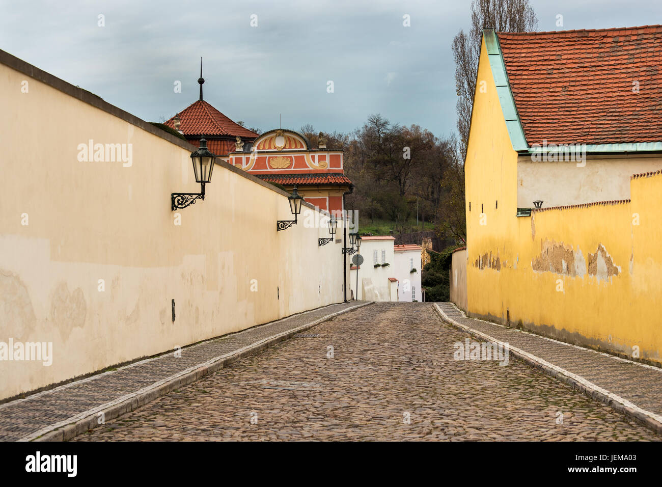 Facade of the old houses and buildings in Novy Svet near Loreto in Prague city - Stock Image