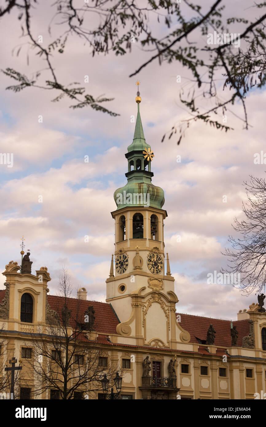 Loreto ( or Loreta ) church and museum in Loretanske square in Prague city - Stock Image