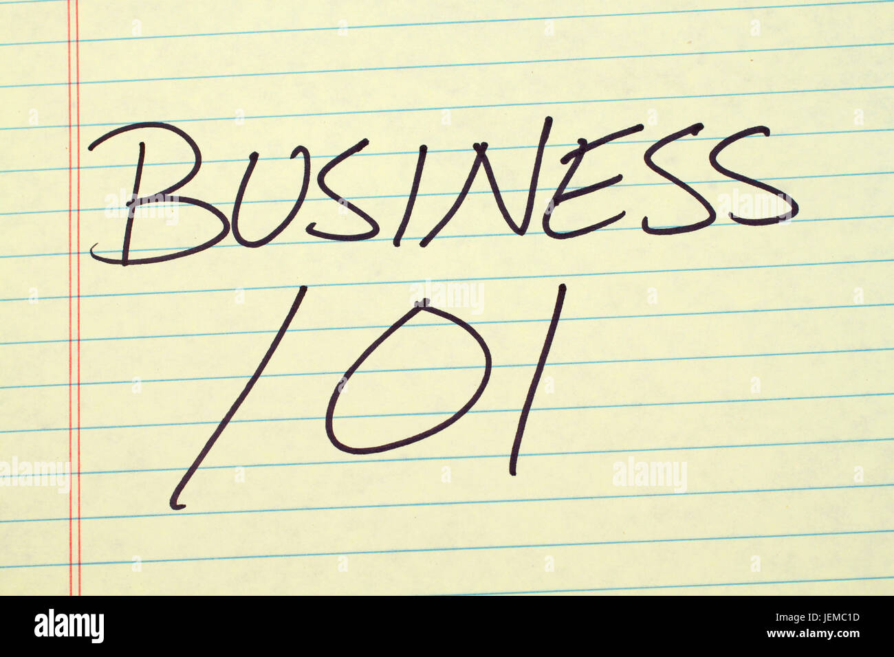 The words 'Business 101' on a yellow legal pad - Stock Image