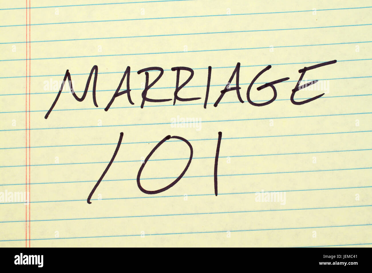 The words 'Marriage 101' on a yellow legal pad - Stock Image