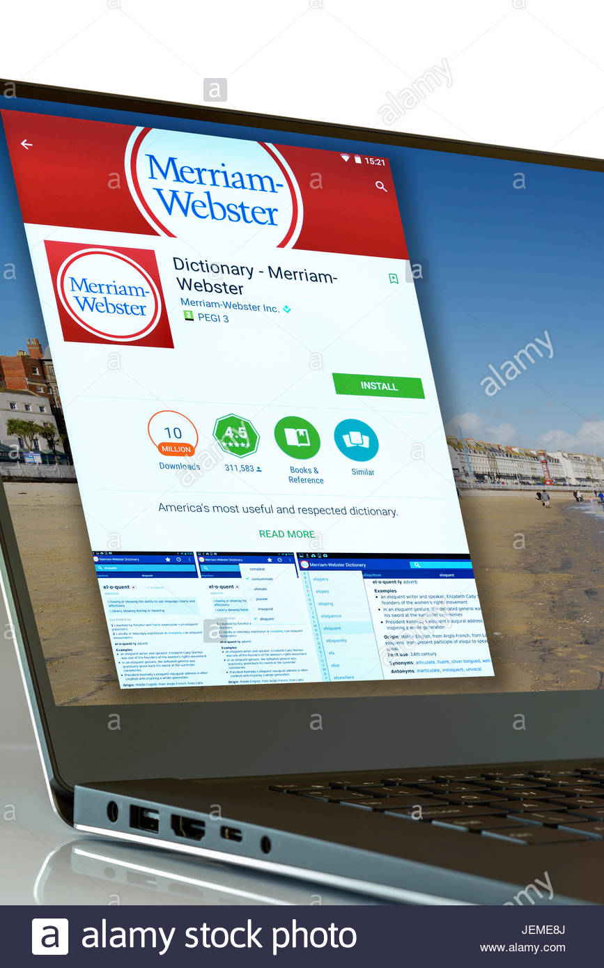 Webster's Dictionary app on laptop screen, England, UK Stock