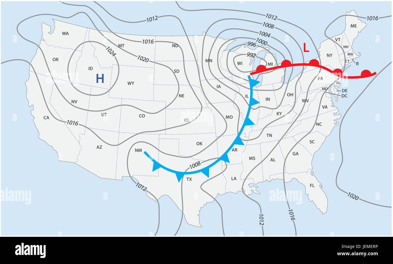 Imaginary weather map of the United States of America Stock ...