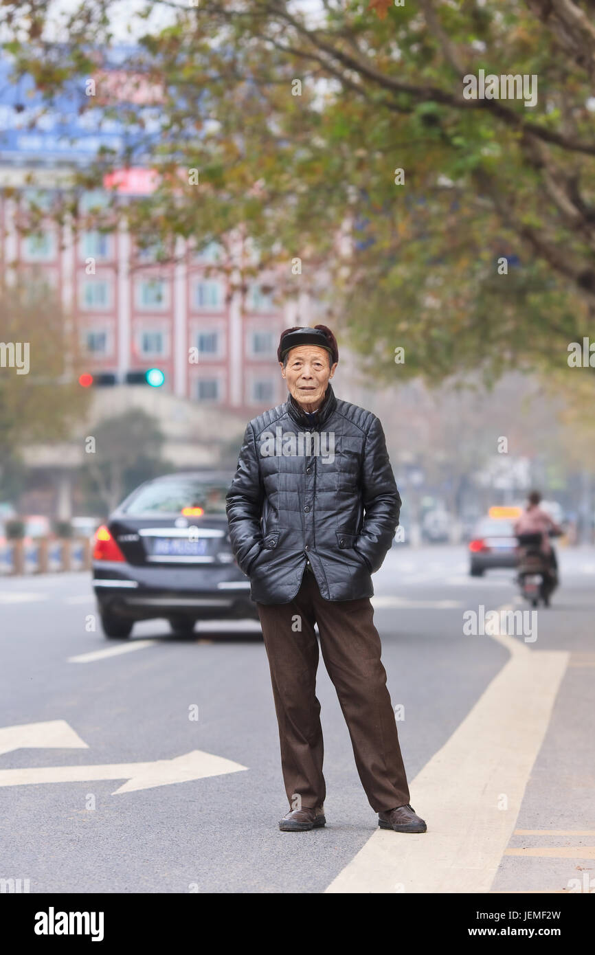 Portrait of a Chinese senior. China's elderly population (60 years or older) is currently 128 million, one in every - Stock Image