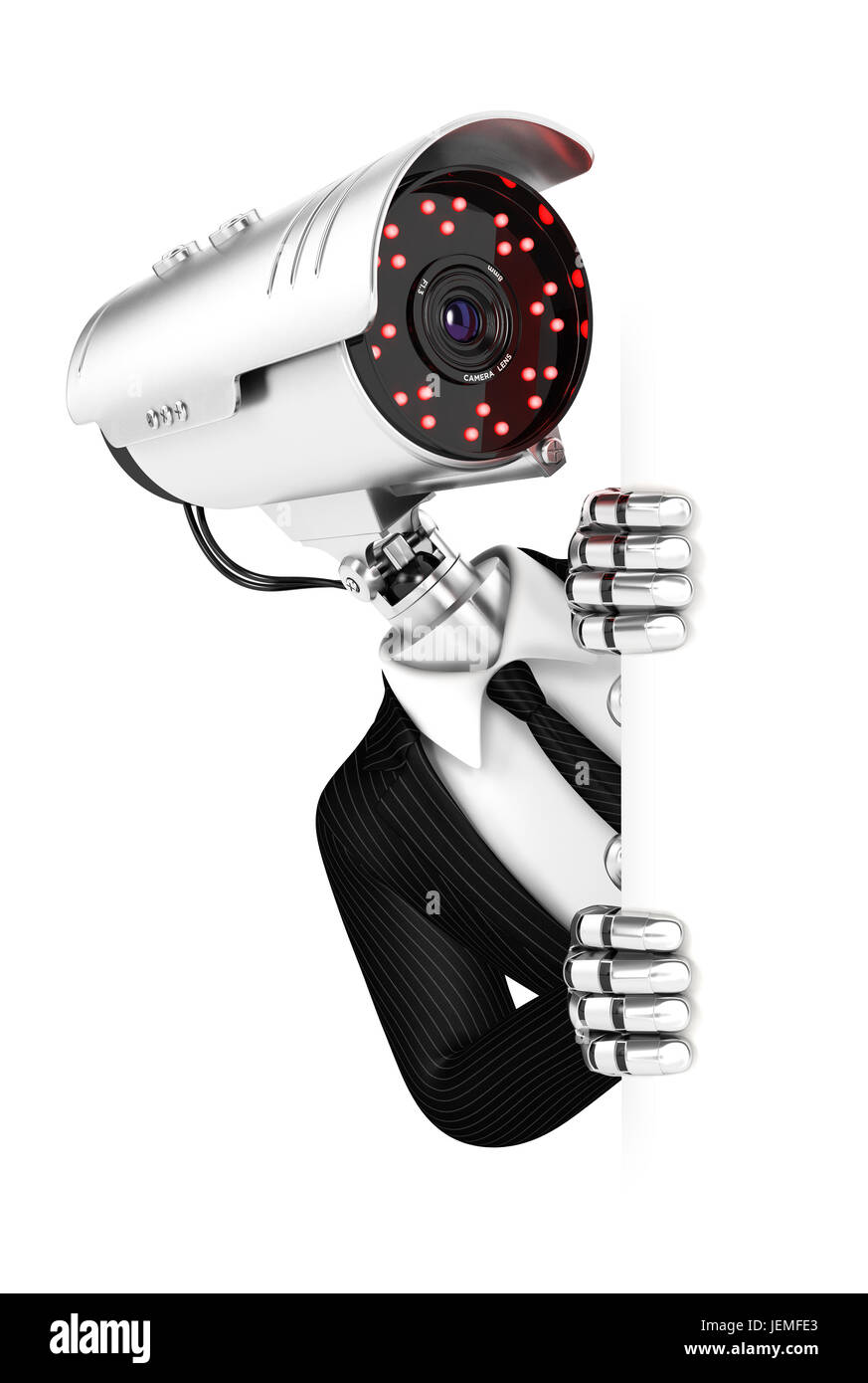 3d security agent with camera head peeping over blank wall, illustration with isolated white background Stock Photo