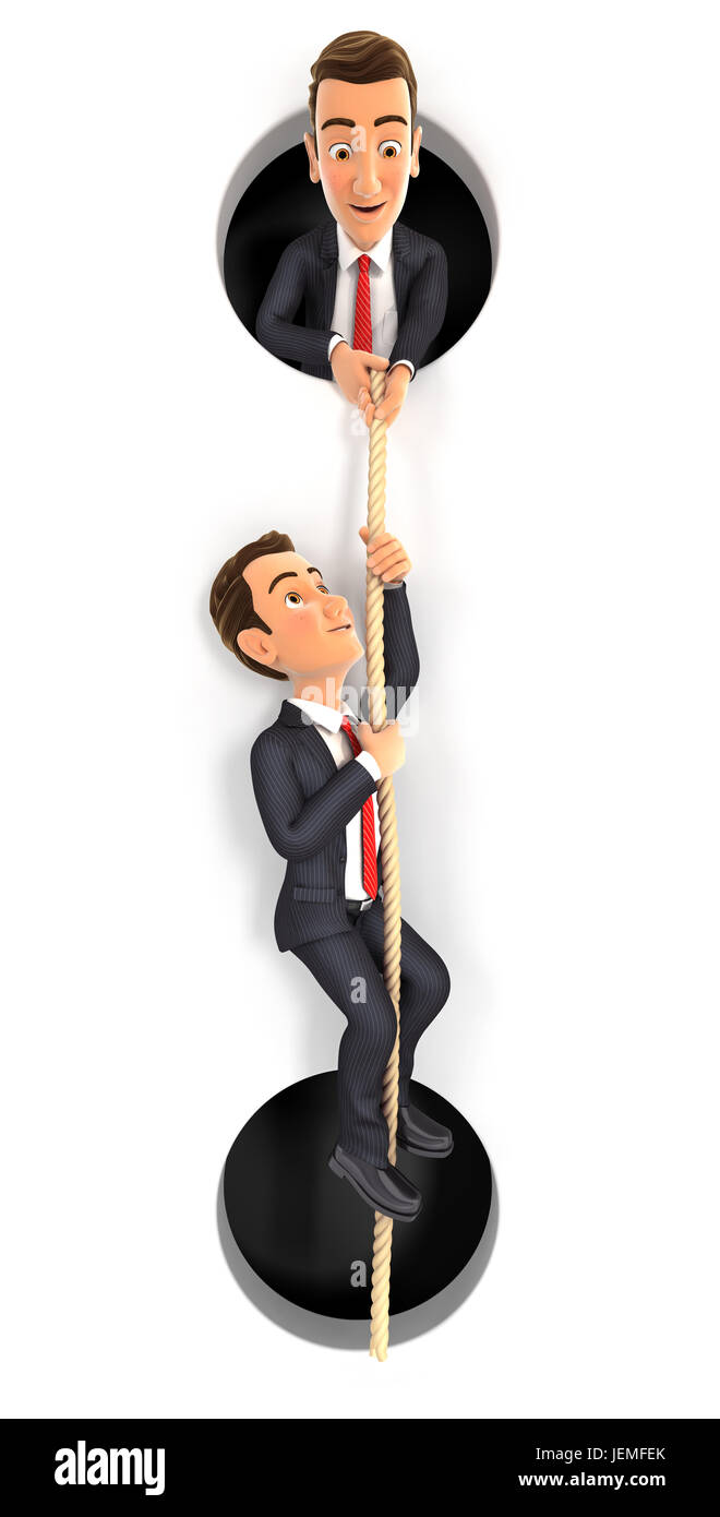 3d businessman helping colleague to climbing on rope, illustration with isolated white background Stock Photo