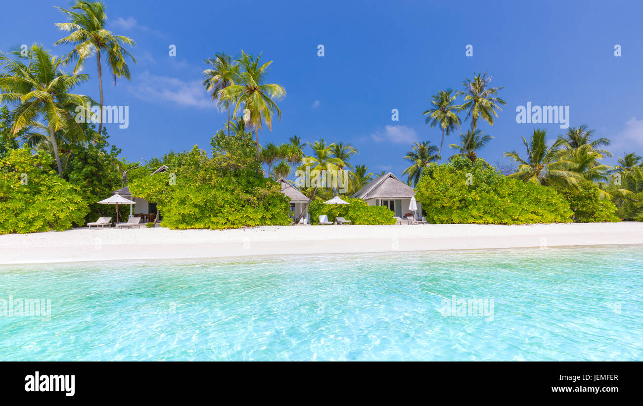 Beautiful beach landscape. Summer holiday and vacation concept. Inspirational tropical beach. Beach background banner - Stock Image