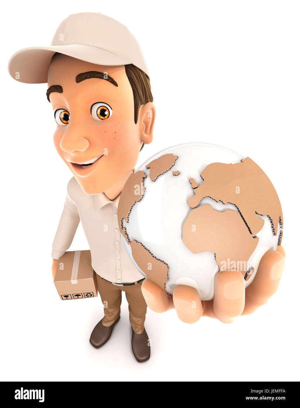 3d delivery man global delivery, illustration with isolated white background Stock Photo