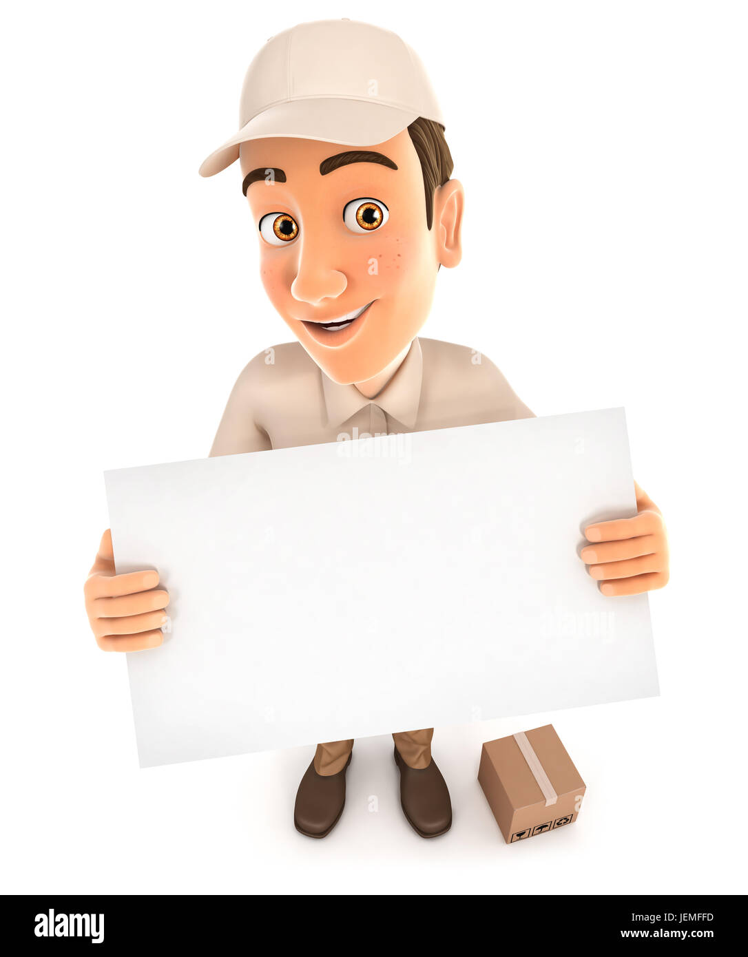 3d delivery man holding a billboard, illustration with isolated white background Stock Photo
